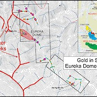 Gold-in-soil anomaly at Eureka Dome and location of placer creeks in the area